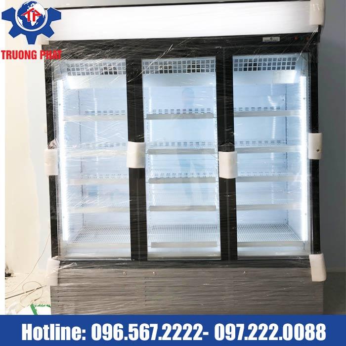 tủ đông lạnh bảo quản thực phẩm 3 cánh kính màu đen