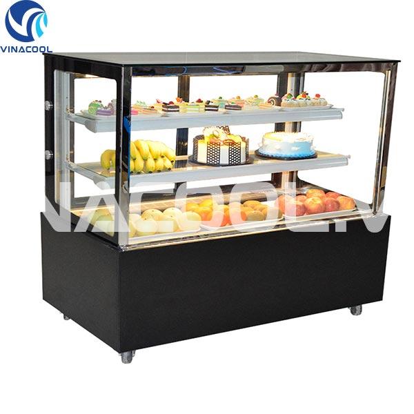 tủ trưng bày bánh ngọt kính vuông 3 tầng vinacool