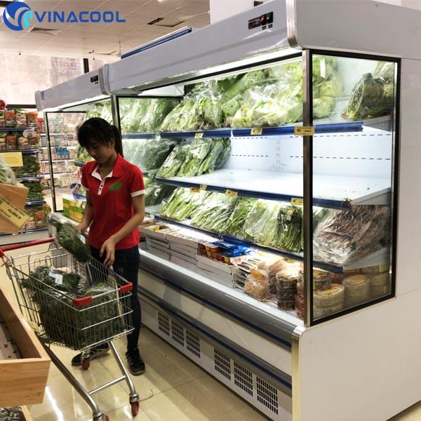 tủ mát trưng bày rau củ quả trong siêu thị