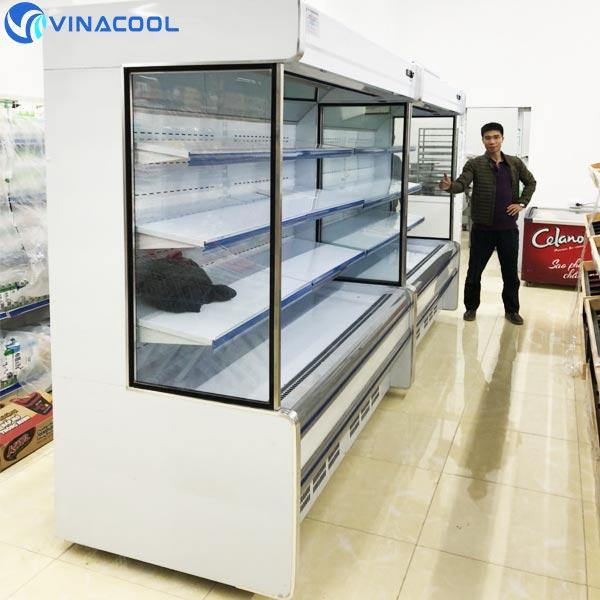 setup hệ thống tủ mát trưng bày rau củ trong siêu thị