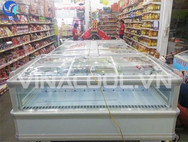 tủ đông trưng bày siêu thị Vinacool với lốc làm lạnh cao cấp