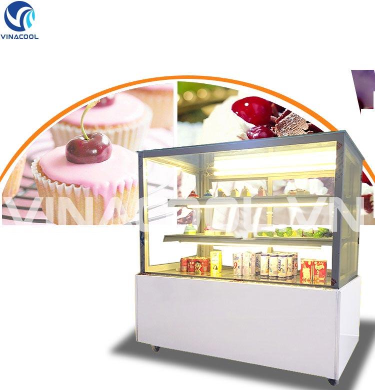 Tủ mát trưng bày bánh kem kính vuông 3 tầng Vinacool sấy kính và phun ẩm
