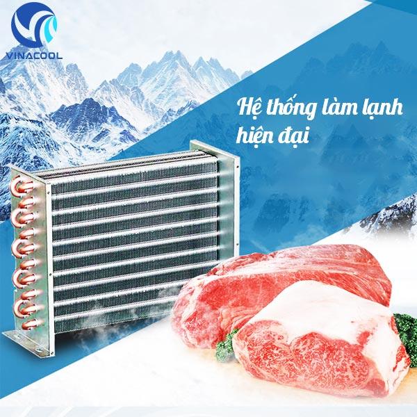 tủ trưng bày thực phẩm có lốc làm lạnh hiện đại