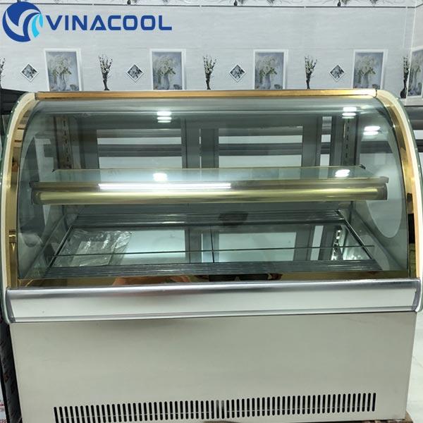 tủ trưng bày bánh kem để bàn kính cong Vinacool
