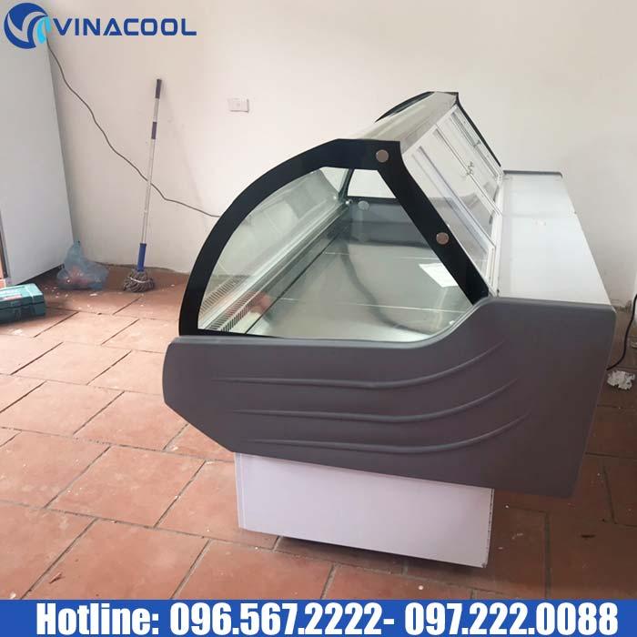 tủ mát trưng bày thịt tươi kính cong Vinacool cửa mở sau