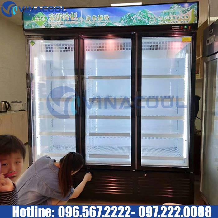 tủ đông cửa đứng 3 cánh kính