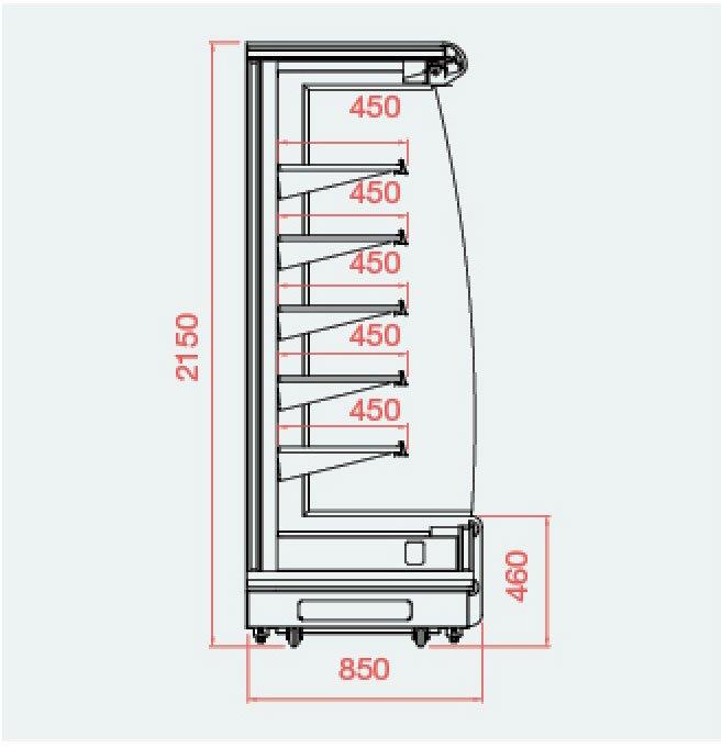 mặt cắt tủ mát SLG-1875FD