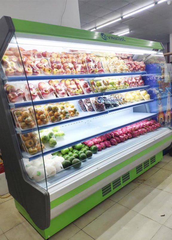 tủ siêu thị vòm cong xanh 2m5